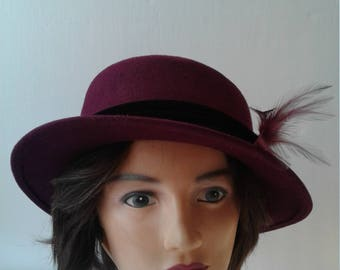 Women's Hats, Purple Hats, Bowler Hats, Vintage Hats, Cloche Hats. Hats from the 1990's