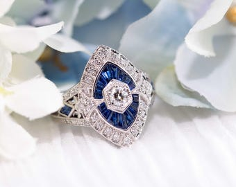 Natural blue sapphire art deco ring in white gold setting with diamond accents - Art deco ring, White gold ring, Vintage diamond