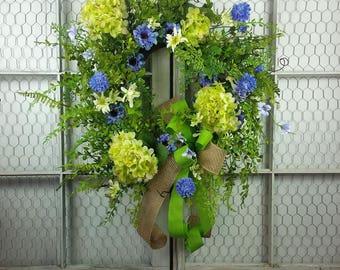 Spring wreath, Grapevine wreath, Floral wreath, Hydrangea wreath, Easter wreath, Summer wreath, Everyday wreath, Mothers Day gift