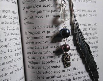 Marque page argenté plume perles blanche, bleue et mauve, hibou cadeau professeur instituteur maîtresse cadeau littéraire Cadeau lecteur