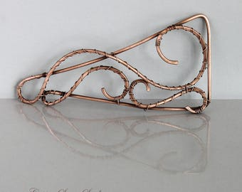 Thick Hair Clip, Large Hair Barrette Copper, Geometric Hair Accessories for Women, Triangle Bun Holder Bun Pin with Copper Swirls,