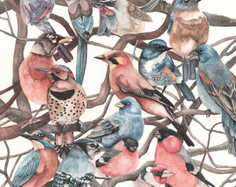 Birds on Branches - Art Print