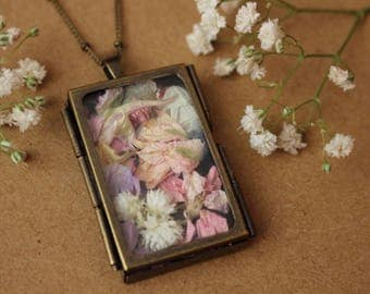 Dried Flower Locket Pendant, Wildflower Locket Necklace, Zen Boho Necklace