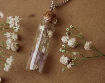 Amethyst Filled Jar Pendant, Dried Flower Filled Jar Necklace, Baby's Breath, Raw Amethyst, Zen Boho, Dried Flower Jewelry