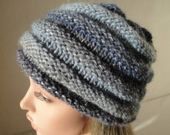blue and silver hat, beehive beanie, wool-mix knit cap, beehive hat M-L, medium-weight cap, woman beehive hat, multi-colour hat, beanie hat