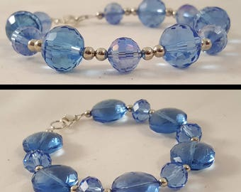 Blue & Silver Crystal Beaded Bracelet - Blue Bracelet - Crystal Bracelet - Blue Crystal Bracelet - Silver Bracelet -Blue Glass -Blue Crystal