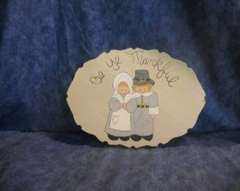 Thanksgiving Pilgrim Wood Plaque