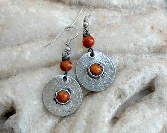 Tribal earrings, antique silver earrings, gemstone tribal earrings, ethnic earrings, red stone earrings (E531)