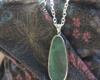 Moss Agate Pendant on Silver Chain