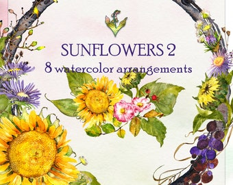Watercolor Clipart, Handpainted clipart, Sunflowers Wreath, Fall Floral Clipart, Watercolor flowers, Sunflower Clipart, Watercolor Sunflower