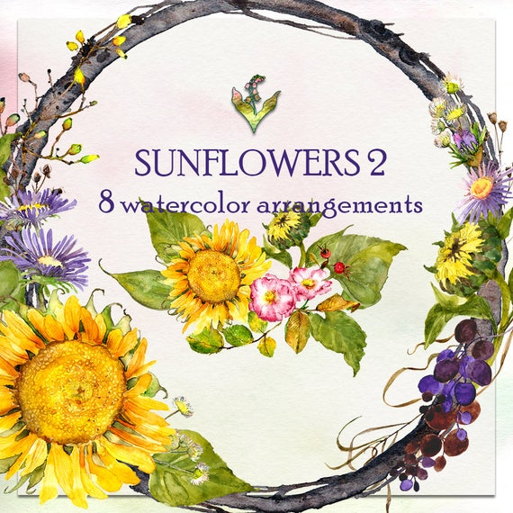 Watercolor Clipart Handpainted Sunflowers Wreath Fall Floral Flowers Sunflower From