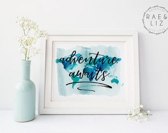 Adventure Awaits Wall Art, Adventure Awaits Print, Adventure Awaits Art, Adventure Awaits Word Art, Adventure Awaits Wall Print, Wall Art
