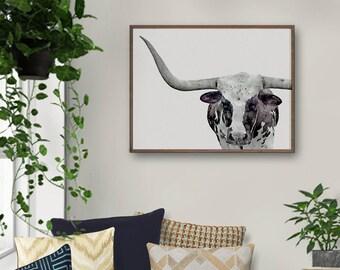 Longhorn Print, Longhorn Art, Longhorn Painting, Longhorn, Cow Print, Nursery Decor, Animal Print, Prints For Nursery, Digital Download