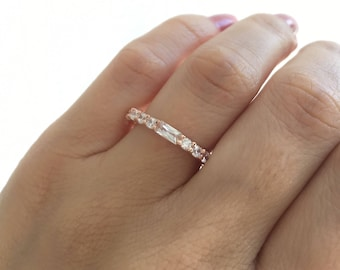 Rose Gold Ring. Unique Design Fine Cz 3MM Band. Round, Regtangular Cz Rose Gold Ring. Rose Gold Wedding Band. Wedding Ring. Free Shipping.