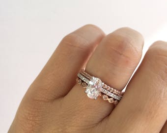 bridal ring set oval cut engagement ring with 2 rose gold wedding bands stacking - Gold And Silver Wedding Rings