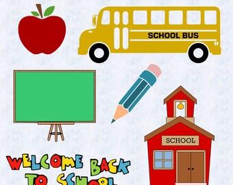 School SVG, school DXF, Clipart, Vector, School bus svg, chalkboard svg, pen svg, apple svg, education svg, back to school cut file