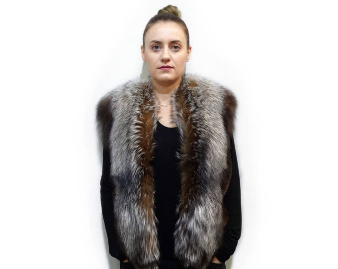 Real Mink Fur Brown & Fox Fur Vest,Brown Mink and Fox Vest F706