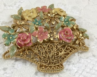 Vintage Goldtone Pastel Flower Basket Brooch