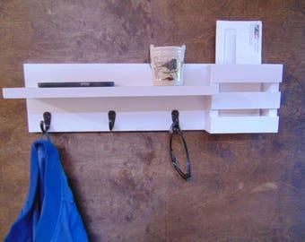 Wall Shelf with Hooks - Mail Holder – Mail Organizer – Key Hooks – Shelf – Display Shelf