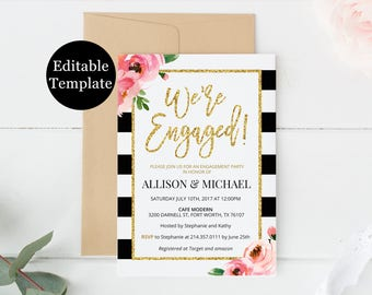 Kate Engagement Party Invitation Template, We're Engaged Invitation Printable, DIY Engagement Dinner, Editable PDF, Black and White Stripes