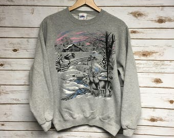 Vintage 90's Deer Nature scene gray crewneck sweatshirt winter scene outdoor animal print barn crew neck sweatshirt - Small/Medium