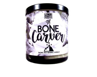 The Bone Carver - Bookish Candle - Book Inspired - 10oz Soy Candle - LemonCakes Candle Co - Smoke, Blood Red Berries, & Vanilla