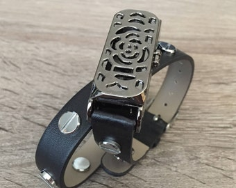 Black Vegan Band for Fitbit Flex Activity Tracker Handmade Double Wrap Bracelet Black Fitbit Flex Holder Silver Rivets Fitbit Flex Bands