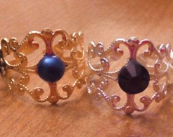 Gold, silver or black filigree adjustable rings
