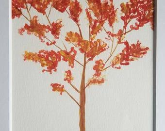 Fall tree original watercolor painting