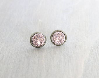 Rose Gold Faux Druzy Bronze Stud Earrings - Chunky Druzy, Sparkly, Metallic Pink, Bronze Earring Studs, For Her, Gift for Her, Boho Earrings