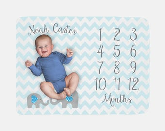 Baby Milestone Blanket | Blue Baby Boy Elephant | Personalized Baby Month Blanket | Baby Boy Fleece or Minky Blanket
