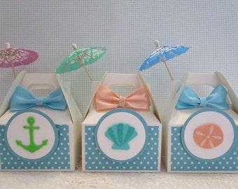 Beach Party Favor Boxes, Nautical Party Favor Boxes, Favor Boxes, Nautical Favor Boxes, Under The Sea Boxes, Girl Favor Boxes, Beach Party