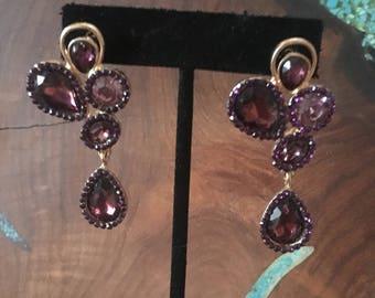 Purple rhinestone earrings, wine crystal rhinestone earrings, pageant earrings