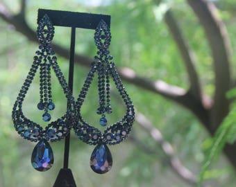 navy blue extra long earrings, dark blue pageant earrings, navy blue oversized chandelier earrings, statement earrings