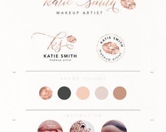 Rose Gold Branding Kit, Makeup Artist Mini Branding Kit, Stylist Logo Design, Submark, Stamp Logo, Color Palette, Premade Design