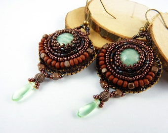 Embroidered with pearls, Amazonite, green, copper, rustic, boho earrings