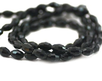 Chinese Crystal Faceted Barrel Rice Oval Bead Jet Black 6x4mm