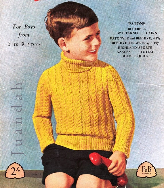 Boys knitting patterns entire PDF book of 1950s