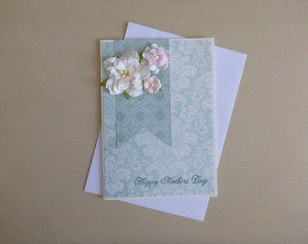 Aqua Floral Mothers's Day Card FREE SHIPPING
