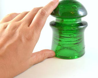Green Insulator, Vintage Insulator, Romanian Glass Insulator, STAS 810 59, CD 408 Insulator, Collectible Emerald Green Glass Insulator