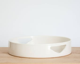 White Ceramic Ottoman Tray  |  Valet Tray | Coffee Table Tray | Bathroom Organizer | Decorative Tray | Modern White Tray | Housewarming Tray