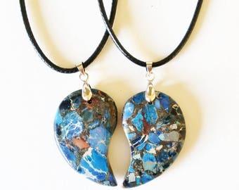 Sea Sediment Jasper Friendship Necklaces - friendship necklaces, best friend necklaces, mother daughter jewelry, gemstone jewelry, crystal