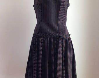 Vintage 1950s dress - Vintage pinstripe dress - Vintage saks fifth avenue dress - 1950s saks fifth avenue - pinstripe dress