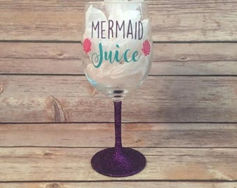 Mermaid Juice Glittered Wine Glass
