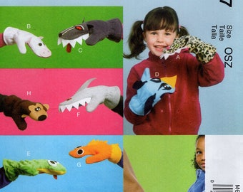 FREE US SHIP SMcCalls 6667 Sewing Pattern Uncut Hand Puppet Mittens Gloves Whimsey Animals, Pocket warmer to hold hands with. :)