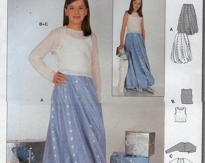 Burda 9926 Sewing Pattern Free Us Ship Uncut Girls evening Floor Length Twirl Pouf Hem Skirt Shrug Size 9 10 12 13 14 Junior Out of Print