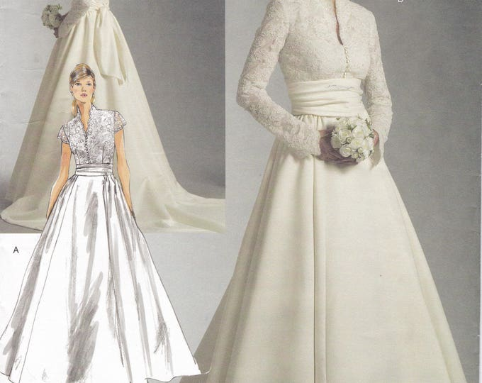 FREE US SHIP Vogue 2979 Bridal Original Wedding Gown Dress Train Sewing Pattern New Size 18 20 22 Bust 40 42 44 (Last size left)