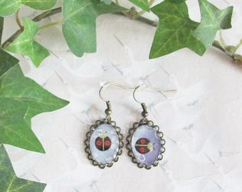 Ladybird earrings, bronze cabochon and japanese paper, jewel ladybird, insect earrings, gift for her