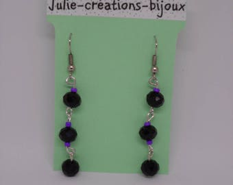 Crystal beads and seed beads earrings