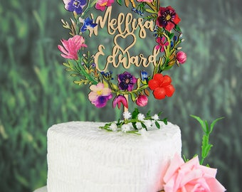 Personalized Wedding Cake Topper, Wood Cake Topper for Wedding Printed with Colorful Floral Wreath,Custom Calligraphy Name Cake Topper VU010